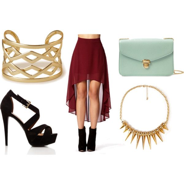 Visit the website here! 1. Wrist cuff. 2. Chiffon skirt. 3. Clutch bag. 4. Spike Necklace. 5. Heels