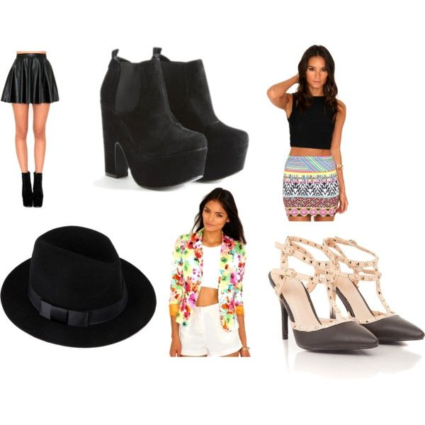 Visit this website here! 1. Leather skater skirt. 2. Chelsea Boots. 3. Aztec Skirt. 4. Fedora. 5. Floral Blazer. 6. Sandals