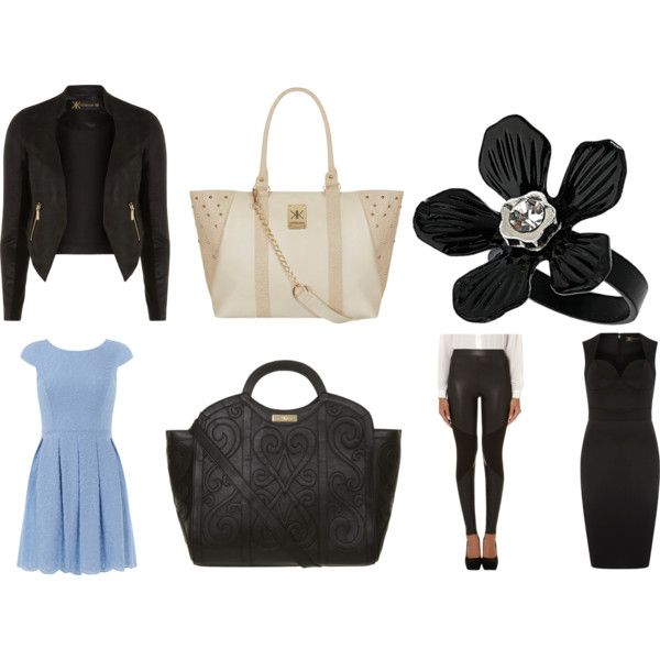 Visit the website here! 1. Leather jacket. 2. Cream tote. 3. Flower ring. 4. Blue dress. 5. Black tote. 6. Leather leggings. 7. Black bodycon dress