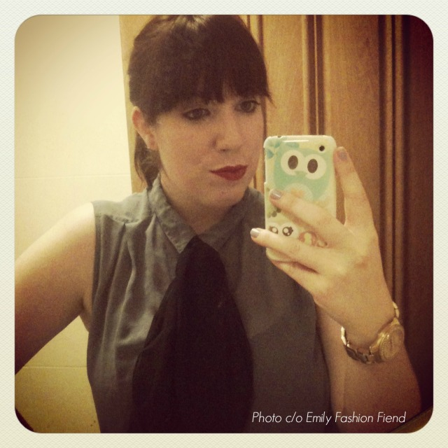 My outfit for the event - loving my new Miss Selfridge pussybow bow!