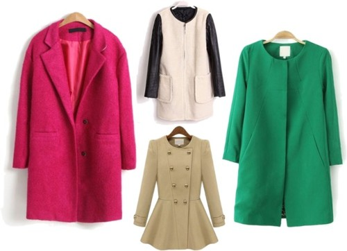 1. Sheinside.com Rose Red Coat. 2. White Collarless Leather Sleeve Coat. 3. Green Collarless Coat. 4. Beige Ruffle Coat