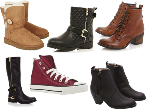 1. Ugg Boots. 2. Black Biker Boots. 3. Brown Lace-Up Boots. 4. Black Chelsea Boots. 5. Burgundy Converse. 6. Black Boots